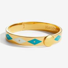 Sparkle Turquoise Cream Gold 1cm Hinged Bangle | Gracious Style