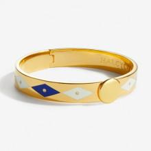 Sparkle Deep Cobalt Cream Gold 1cm Hinged Bangle | Gracious Style