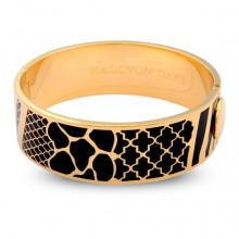 Wildlife Black Gold 2cm Hinged Bangle | Gracious Style