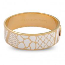 Wildlife Cream Gold 2cm Hinged Bangle | Gracious Style