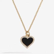 Heart Sparkle Black Gold Pendant | Gracious Style