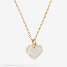 Heart Sparkle Cream Gold Pendant | Gracious Style