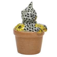 """Shaded Vhnm Flower Pot Kitty 1.75""""L X 1.5""""W X 2.5""""H 