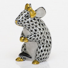 Shaded Vhnm Mouse With Bow 2 in. l X 1.5 in. w X 2.5 in. h | Gracious Style