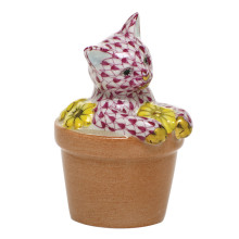 """Shaded Vhp Flower Pot Kitty 1.75""""L X 1.5""""W X 2.5""""H 