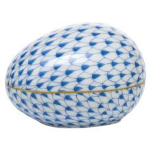 "Fishnet Blue Large Egg 3""L X 2.25""W X 2""H | Gracious Style"