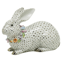 """Vhsp133 Gray Bunny With Garland 8.5""""L X 3.25""""W X 5.5""""H (Special Order) 