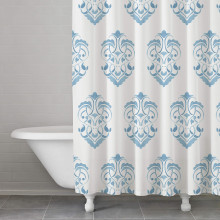 Briar Rose Damask Blue Shower Curtain | Gracious Style