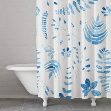 Indigo Fern Blue Shower Curtain | Gracious Style
