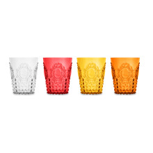 Baroque & Rock Water Glass 12.5 Oz Set of Four Red Series (Red, Yellow, Orange, Clear)