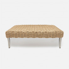 Arla Indoor/Outdoor Coffee Table Natural 52 in L x 30 in W x 17 in H Twisted Faux Rope
