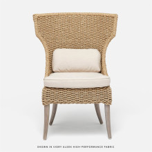 Arla Indoor/Outdoor Dining Chair 30 in W x 27 in D x 40 in H Natural Twisted Faux Rope/Alsek Ivory | Gracious Style
