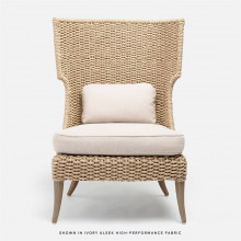 Arla Indoor/Outdoor Lounge Chair 30 in W x 32 in D x 43 in H Natural Twisted Faux Rope/Alsek Ivory | Gracious Style