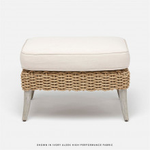 Arla Indoor/Outdoor Ottoman 24 in W x 18 in D x 18 in H Natural Twisted Faux Rope/Alsek Ivory | Gracious Style