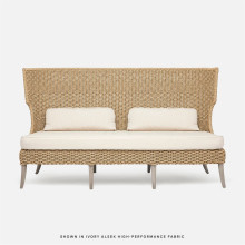 Arla Indoor/Outdoor Sofa 75 in W x 33 in D x 44 in H Natural Twisted Faux Rope/Alsek Ivory | Gracious Style
