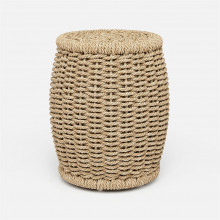 Arla Indoor/Outdoor Stool Natural 15 in D x 18 in H Twisted Faux Rope