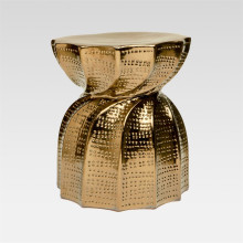 Bea Indoor/Outdoor Stool Crackled Gold 15.5 in D X 17 in H Twisted Ceramic