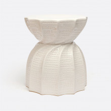 Bea Indoor/Outdoor Stool Glossy White 15.5 in D X 17 in H Twisted Ceramic | Gracious Style