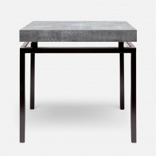 Benjamin Side Table Flat Black Steel/Realistic Faux Shagreen Cool Gray | Gracious Style