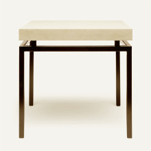 Benjamin Side Table Flat Black Steel/Realistic Faux Shagreen Ivory | Gracious Style