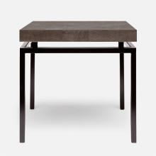 Benjamin Side Table Flat Black Steel/Realistic Faux Shagreen Dark Mushroom | Gracious Style