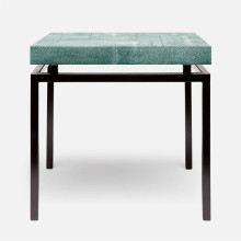 Benjamin Side Table Flat Black Steel/Realistic Faux Shagreen Turquoise | Gracious Style