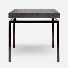 Benjamin Side Table Flat Black Steel/Faux Linen Charcoal | Gracious Style