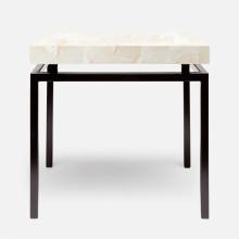 Benjamin Side Table Flat Black Steel/Clamstone Natural | Gracious Style