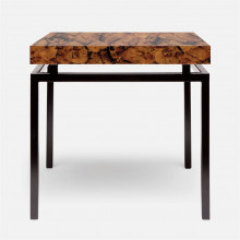 Benjamin Side Table 22 in L x 22 in W x 21 in H Flat Black Steel/Shell Young Pen | Gracious Style