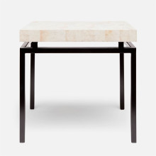 Benjamin Side Table 22 in L x 22 in W x 21 in H Flat Black Steel/Shell Young Kabibe | Gracious Style