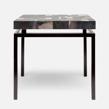 Benjamin Side Table 22 in L x 22 in W x 21 in H Flat Black Steel/Petrified Wood Dark Mix | Gracious Style
