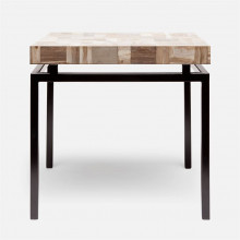 Benjamin Side Table 22 in L x 22 in W x 21 in H Flat Black Steel/Petrified Wood Light Mix | Gracious Style