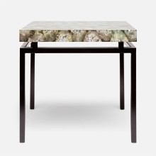 Benjamin Side Table 22 in L x 22 in W x 21 in H Flat Black Steel/Shell Silver Mother of Pearl | Gracious Style