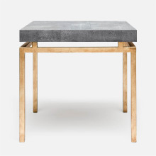 Benjamin Side Table Texturized Gold Steel/Realistic Faux Shagreen Cool Gray | Gracious Style