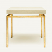 Benjamin Side Table Texturized Gold Steel/Realistic Faux Shagreen Ivory | Gracious Style