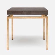 Benjamin Side Table Texturized Gold Steel/Realistic Faux Shagreen Dark Mushroom | Gracious Style