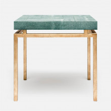 Benjamin Side Table Texturized Gold Steel/Realistic Faux Shagreen Turquoise | Gracious Style