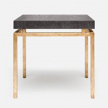 Benjamin Side Table Texturized Gold Steel/Faux Linen Charcoal | Gracious Style