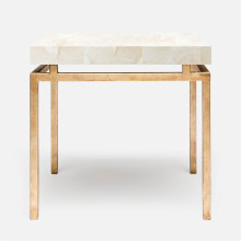 Benjamin Side Table Texturized Gold Steel/Clamstone Natural | Gracious Style
