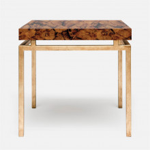 Benjamin Side Table 22 in L x 22 in W x 21 in H Texturized Gold Steel/Shell Young Pen | Gracious Style