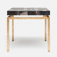 Benjamin Side Table 22 in L x 22 in W x 21 in H Texturized Gold Steel/Petrified Wood Dark Mix | Gracious Style