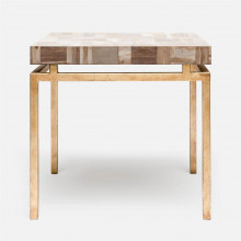 Benjamin Side Table 22 in L x 22 in W x 21 in H Texturized Gold Steel/Petrified Wood Light Mix | Gracious Style