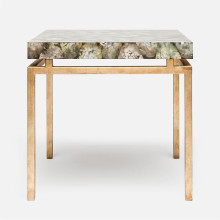 Benjamin Side Table 22 in L x 22 in W x 21 in H Texturized Gold Steel/Shell Silver Mother of Pearl | Gracious Style