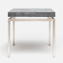 Benjamin Side Table Texturized Silver Steel/Realistic Faux Shagreen Cool Gray | Gracious Style