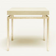 Benjamin Side Table Texturized Silver Steel/Realistic Faux Shagreen Ivory | Gracious Style