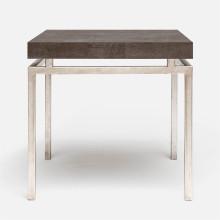 Benjamin Side Table Texturized Silver Steel/Realistic Faux Shagreen Dark Mushroom | Gracious Style