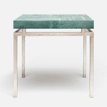 Benjamin Side Table Texturized Silver Steel/Realistic Faux Shagreen Turquoise | Gracious Style