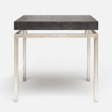 Benjamin Side Table Texturized Silver Steel/Faux Linen Charcoal | Gracious Style