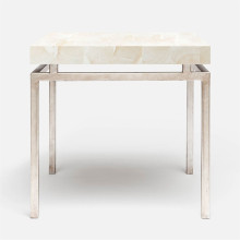 Benjamin Side Table Texturized Silver Steel/Clamstone Natural | Gracious Style