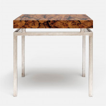 Benjamin Side Table 22 in L x 22 in W x 21 in H Texturized Silver Steel/Shell Young Pen | Gracious Style